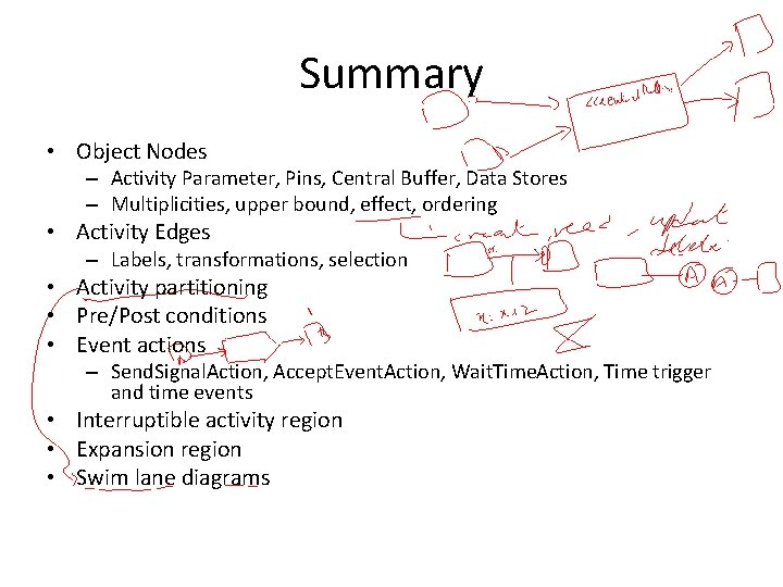 Summary • Object Nodes – Activity Parameter, Pins, Central Buffer, Data Stores – Multiplicities,