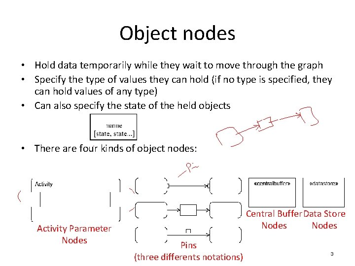Object nodes • Hold data temporarily while they wait to move through the graph