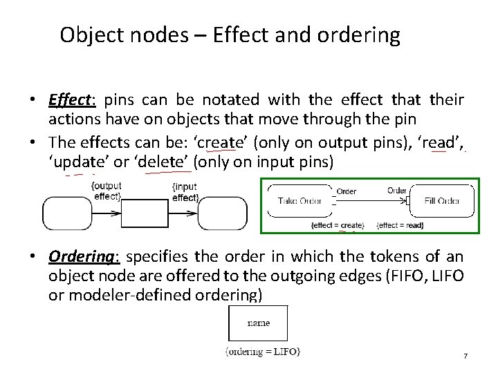 Object nodes – Effect and ordering • Effect: pins can be notated with the