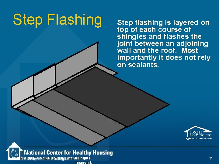 Step Flashing Copyright 2006, Livable Housing, Inc. All rights reserved. Step flashing is layered
