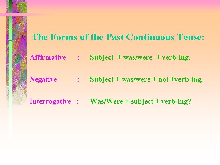 The Forms of the Past Continuous Tense: Affirmative : Subject + was/were + verb-ing.