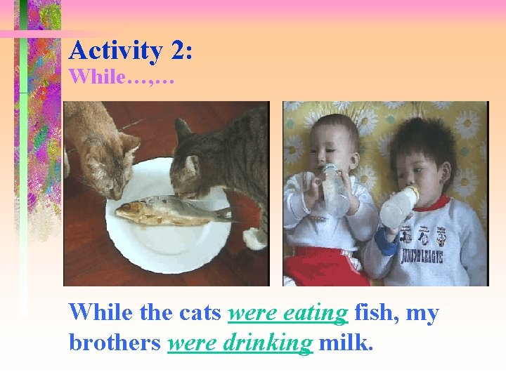 Activity 2: While…, … While the cats were eating fish, my brothers were drinking