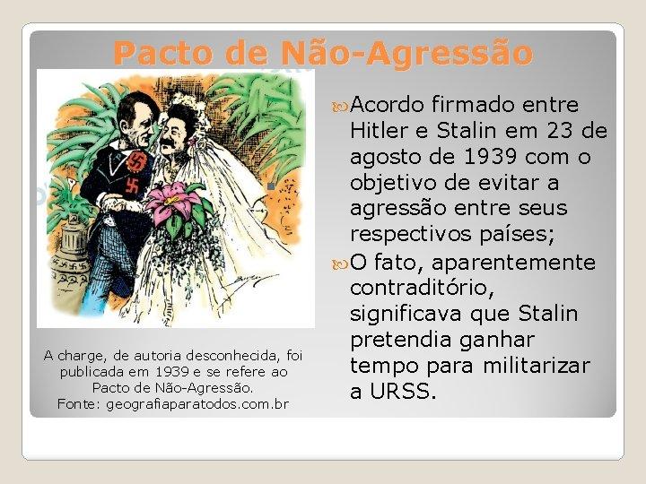 Pacto de Não-Agressão Acordo A charge, de autoria desconhecida, foi publicada em 1939 e