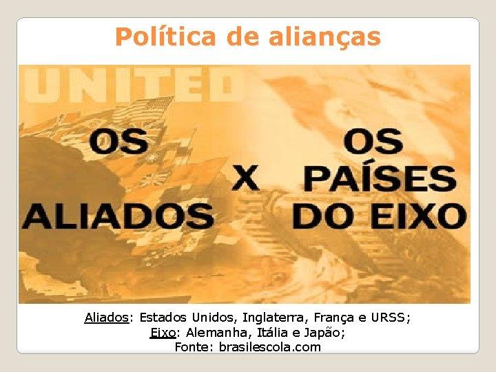 Política de alianças Aliados: Estados Unidos, Inglaterra, França e URSS; Eixo: Alemanha, Itália e