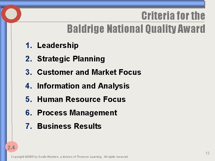 Criteria for the Baldrige National Quality Award 1. Leadership 2. Strategic Planning 3. Customer