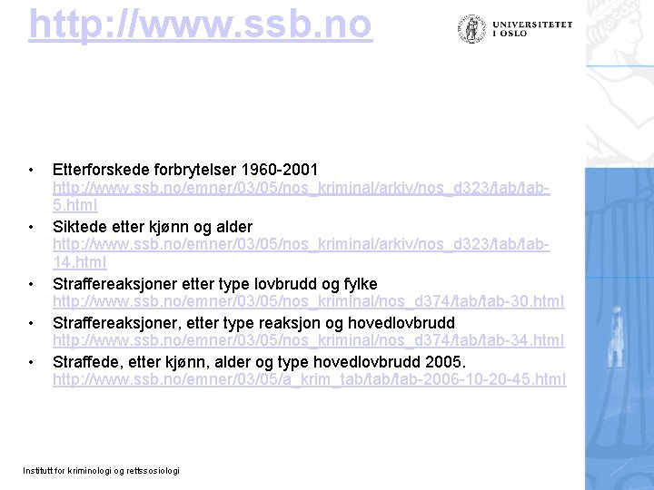 http: //www. ssb. no • • • Etterforskede forbrytelser 1960 -2001 http: //www. ssb.