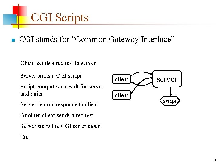 "CGI Scripts n CGI stands for ""Common Gateway Interface"" Client sends a request to"