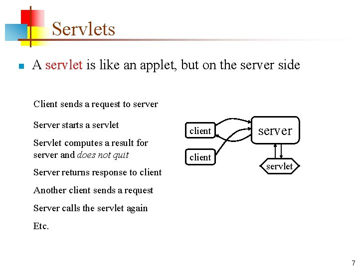 Servlets n A servlet is like an applet, but on the server side Client