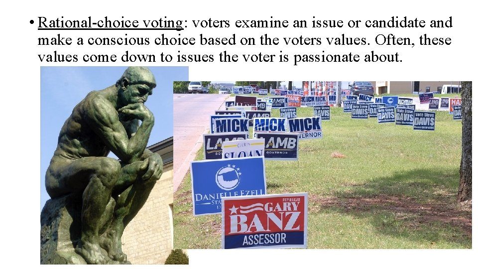 • Rational-choice voting: voters examine an issue or candidate and make a conscious