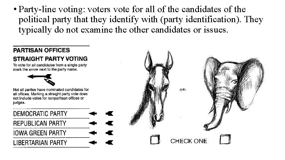 • Party-line voting: voters vote for all of the candidates of the political