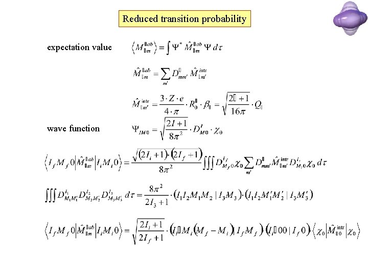 Reduced transition probability expectation value wave function