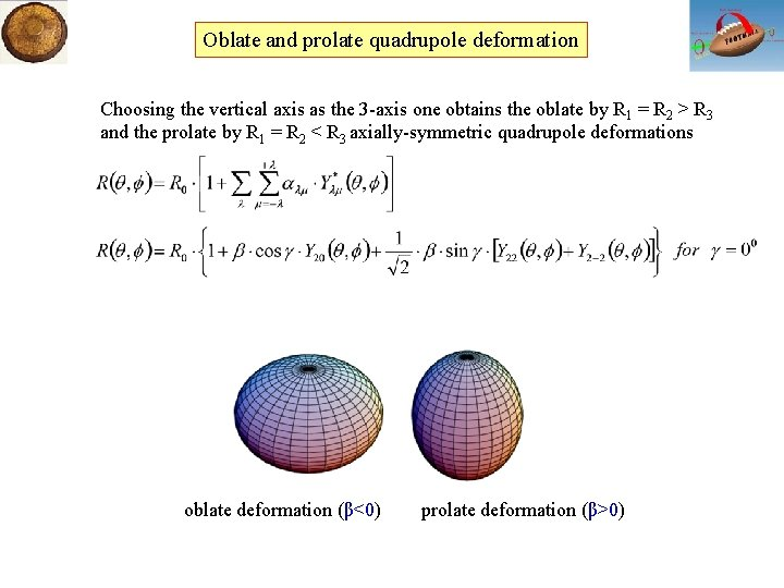 Oblate and prolate quadrupole deformation Choosing the vertical axis as the 3 -axis one