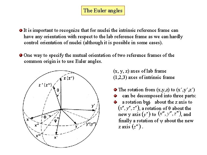 The Euler angles It is important to recognize that for nuclei the intrinsic reference
