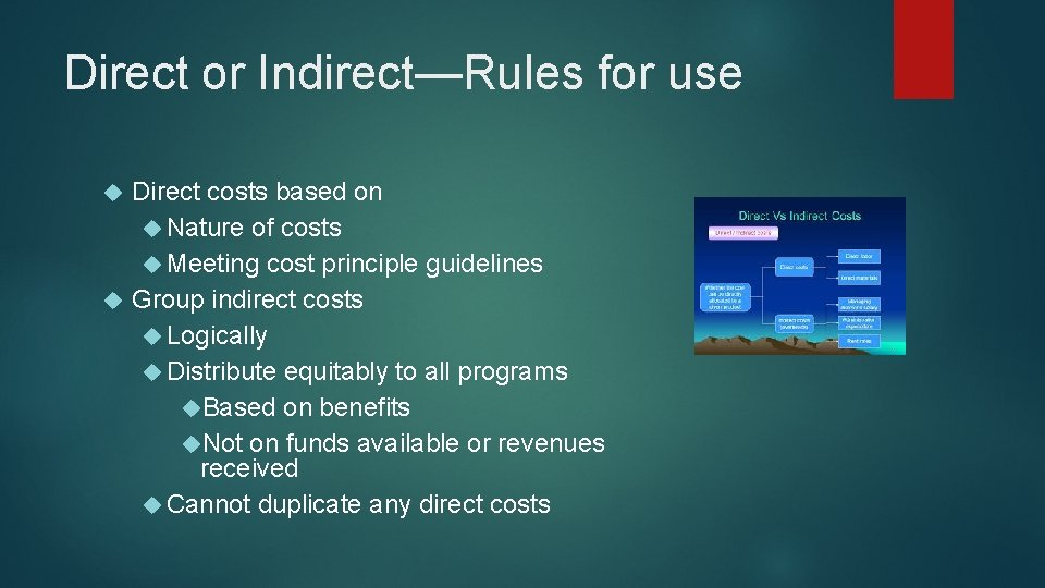 Direct or Indirect—Rules for use Direct costs based on Nature of costs Meeting cost