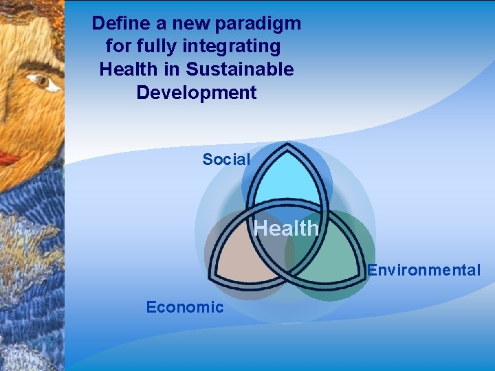 Define a new paradigm for fully integrating Health in Sustainable Development Social Health Environmental