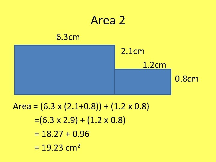 Area 2 6. 3 cm 2. 1 cm 1. 2 cm 0. 8 cm