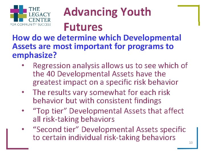 Advancing Youth Futures How do we determine which Developmental Assets are most important for