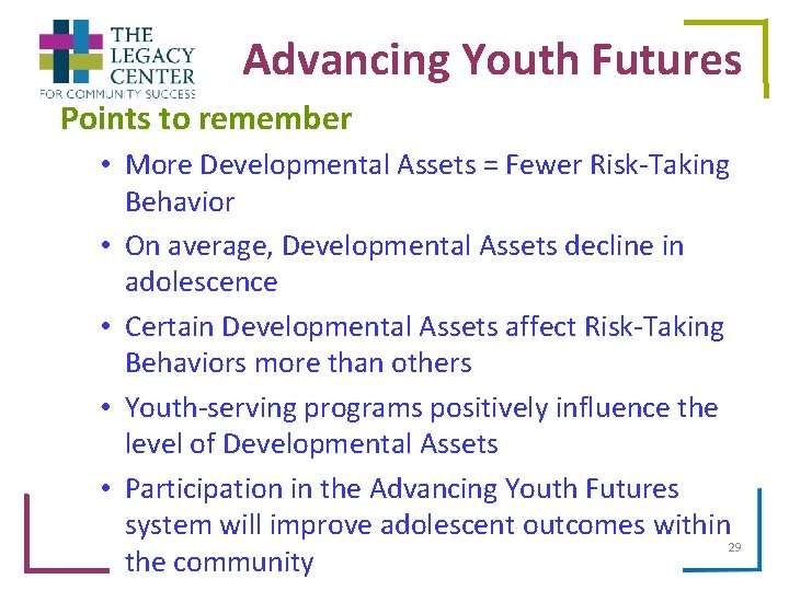Advancing Youth Futures Points to remember • More Developmental Assets = Fewer Risk-Taking Behavior