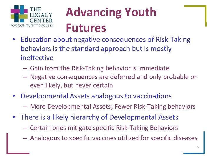 Advancing Youth Futures • Education about negative consequences of Risk-Taking behaviors is the standard