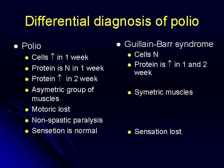 Differential diagnosis of polio l Polio l l l l Cells in 1 week