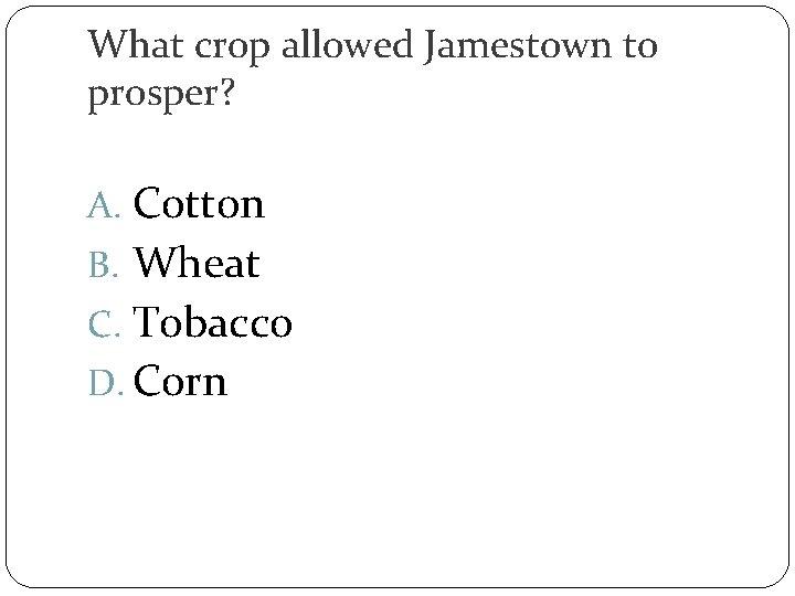 What crop allowed Jamestown to prosper? A. Cotton B. Wheat C. Tobacco D. Corn