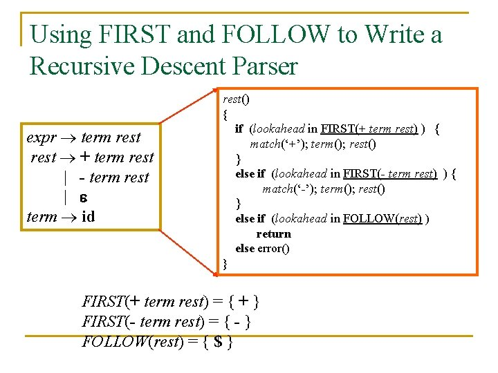 Using FIRST and FOLLOW to Write a Recursive Descent Parser expr term rest +