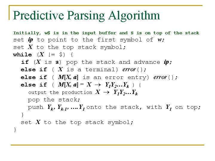 Predictive Parsing Algorithm Initially, w$ is in the input buffer and S is on