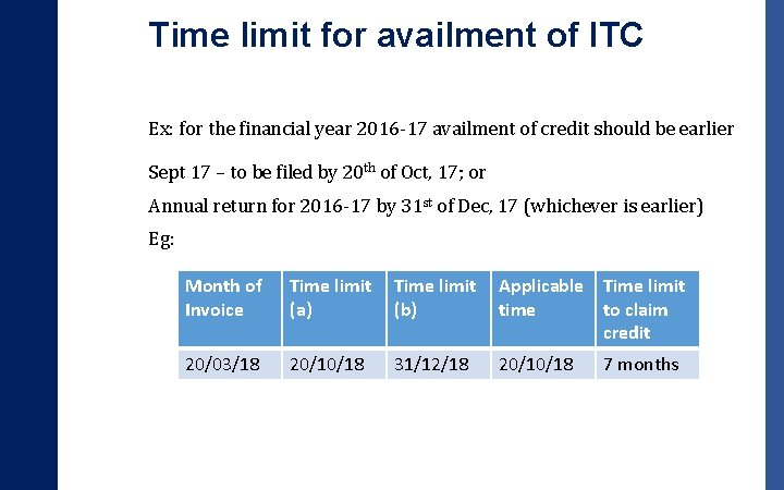 Time limit for availment of ITC Ex: for the financial year 2016 -17 availment