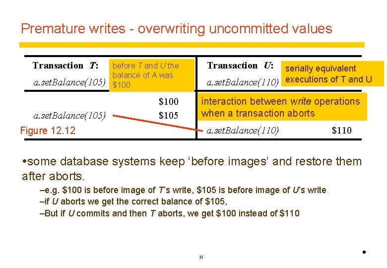 Premature writes - overwriting uncommitted values Transaction T: a. set. Balance(105) before T and