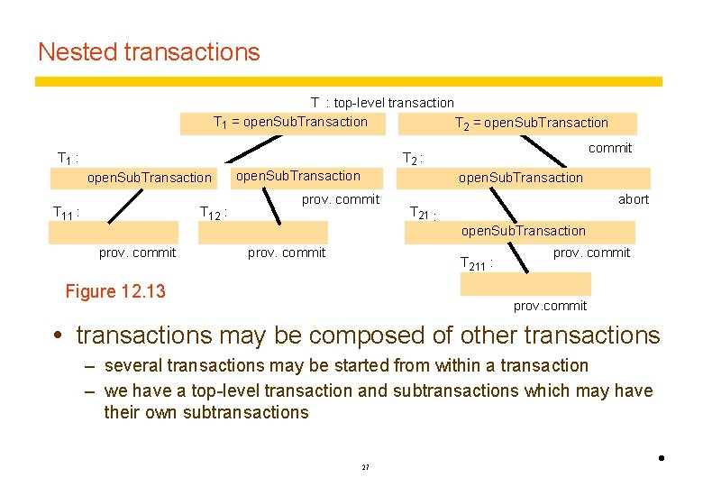 Nested transactions T : top-level transaction T 1 = open. Sub. Transaction T 2