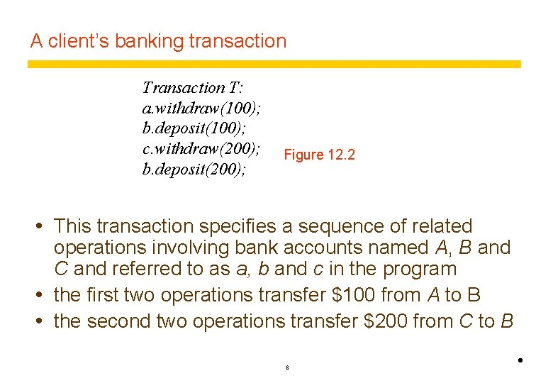 A client's banking transaction T: a. withdraw(100); b. deposit(100); c. withdraw(200); b. deposit(200); Figure