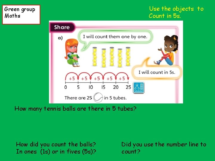 Use the objects to Count in 5 s. Green group Maths How many tennis