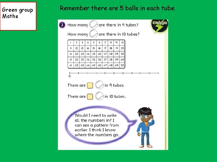 Green group Maths Remember there are 5 balls in each tube.