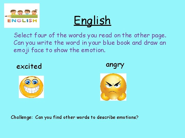 English Select four. of the words you read on the other page. Can you