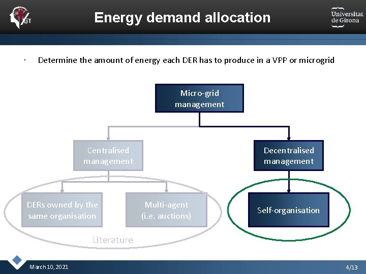 Energy demand allocation Determine the amount of energy each DER has to produce in
