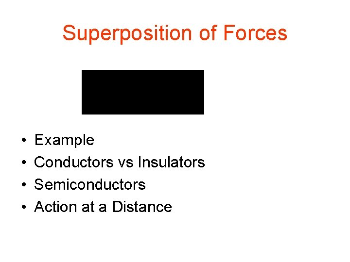 Superposition of Forces • • Example Conductors vs Insulators Semiconductors Action at a Distance