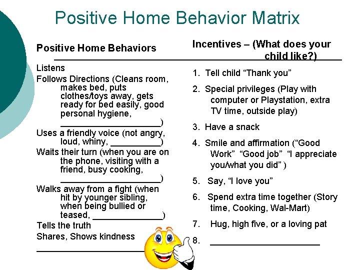 Positive Home Behavior Matrix Positive Home Behaviors Listens Follows Directions (Cleans room, makes bed,