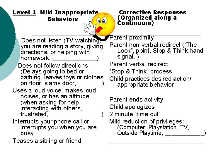Level 1 Mild Inappropriate Behaviors Does not listen (TV watching, you are reading a