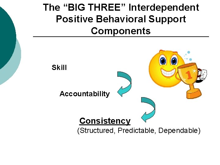 """The """"BIG THREE"""" Interdependent Positive Behavioral Support Components Skill Accountability Consistency (Structured, Predictable, Dependable)"""