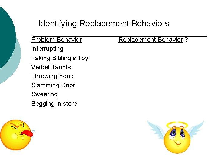 Identifying Replacement Behaviors Problem Behavior Interrupting Taking Sibling's Toy Verbal Taunts Throwing Food Slamming