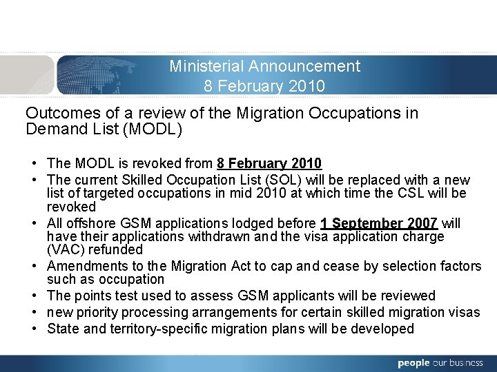 Ministerial Announcement 8 February 2010 Outcomes of a review of the Migration Occupations in