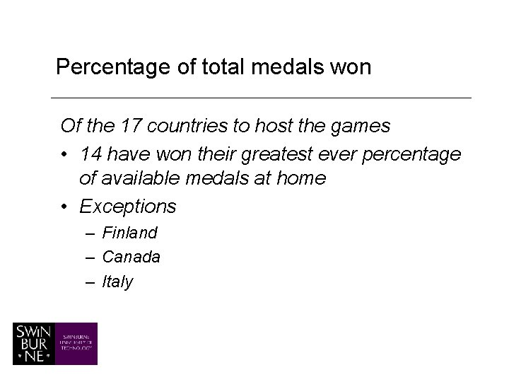 Percentage of total medals won Of the 17 countries to host the games •