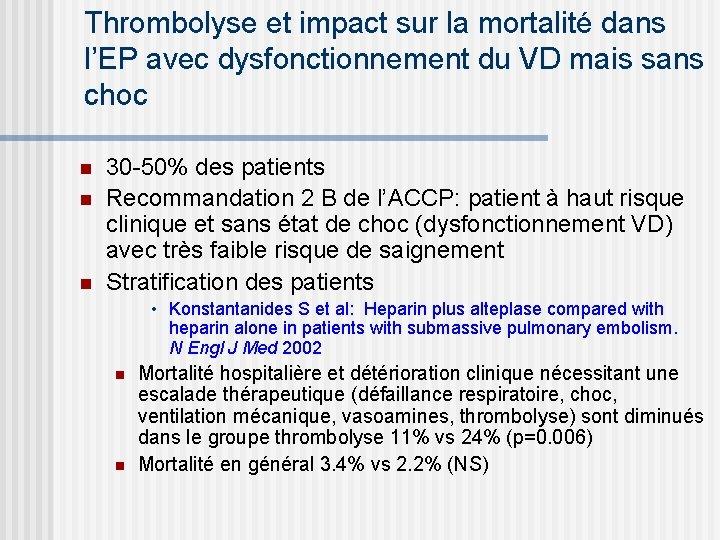 Thrombolyse et impact sur la mortalité dans l'EP avec dysfonctionnement du VD mais sans