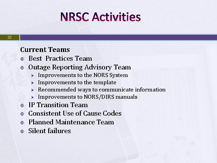NRSC Activities 32 Current Teams Best Practices Team Outage Reporting Advisory Team Ø Ø
