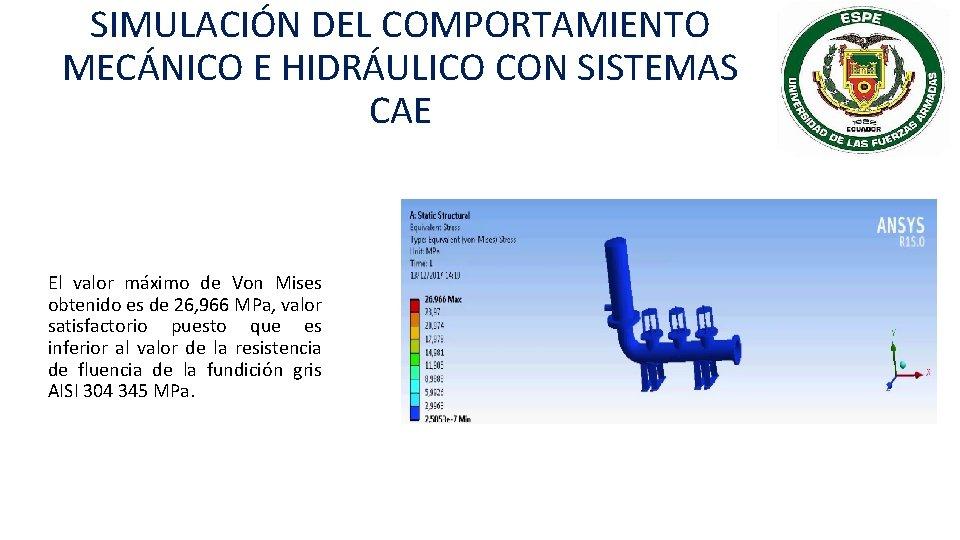 SIMULACIÓN DEL COMPORTAMIENTO MECÁNICO E HIDRÁULICO CON SISTEMAS CAE El valor máximo de Von