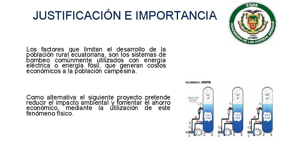JUSTIFICACIÓN E IMPORTANCIA Los factores que limitan el desarrollo de la población rural ecuatoriana,