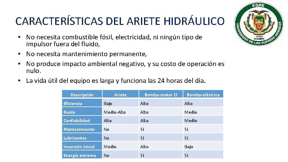 CARACTERÍSTICAS DEL ARIETE HIDRÁULICO • No necesita combustible fósil, electricidad, ni ningún tipo de