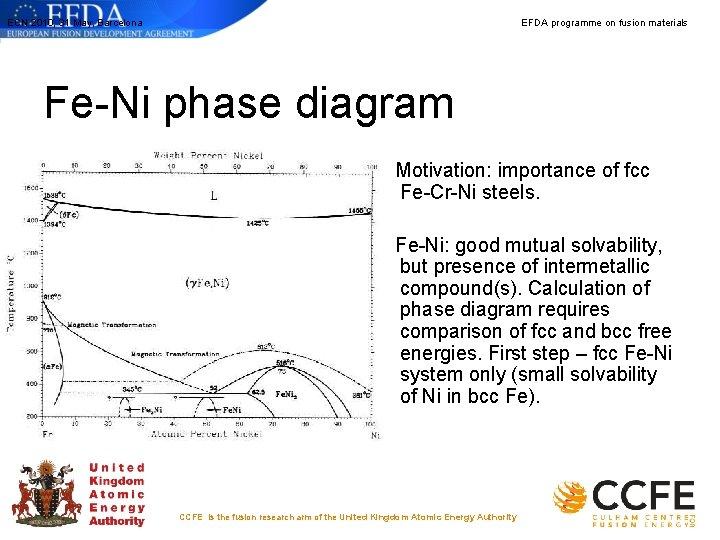 ECN 2010, 31 May, Barcelona EFDA programme on fusion materials Fe-Ni phase diagram Motivation: