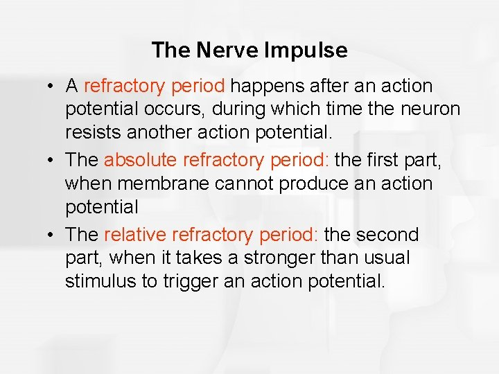 The Nerve Impulse • A refractory period happens after an action potential occurs, during