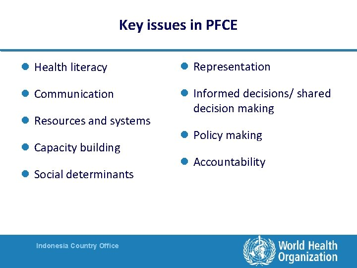 Key issues in PFCE l Health literacy l Representation l Communication l Informed decisions/